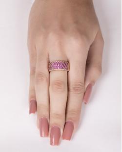 Anel de metal dourado com strass rosa tata