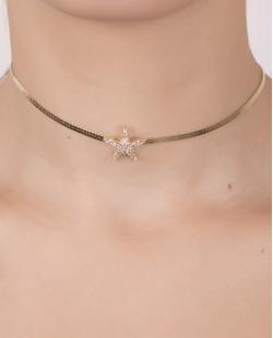 Gargantilha chocker de metal dourado com strass cristal wide