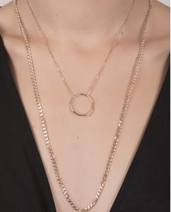 Kit 2 colares de metal dourado Bon