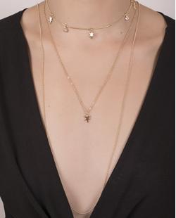 Kit 3 colares de metal dourado com pedra cristal Carter