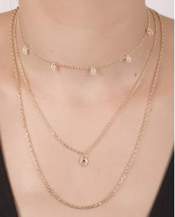 Kit 3 colares de metal dourado com strass cristal Sophia