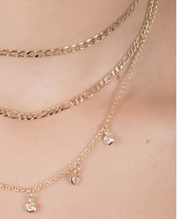 Kit 3 colares de metal dourado com pedra cristal rossy