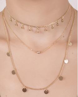 Kit 3 colares de metal dourado com pedra cristal Clarkson