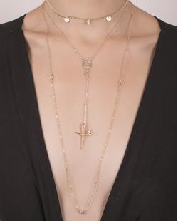 Kit 3 colares de metal dourado com pedra cristal Cintia