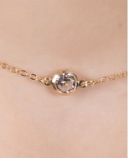 Kit 2 colares de metal dourado com perda cristal Naiara