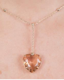 Colar de metal dourado com pedra rosé Dinesh