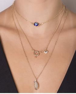 Kit 3 colares de metal dourado com pedra azul  Zayn