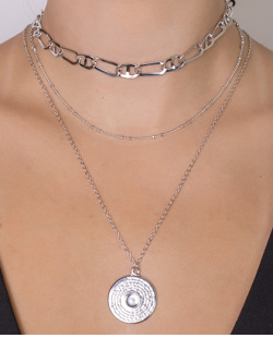 Kit 3 colares de metal prateado Pharrell