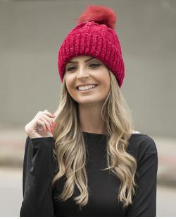 Gorro de tricô vermelho Helena