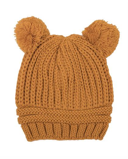 Gorro de tricô mostarda  Bear