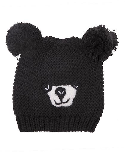 Gorro infantil de tricô preto Fox