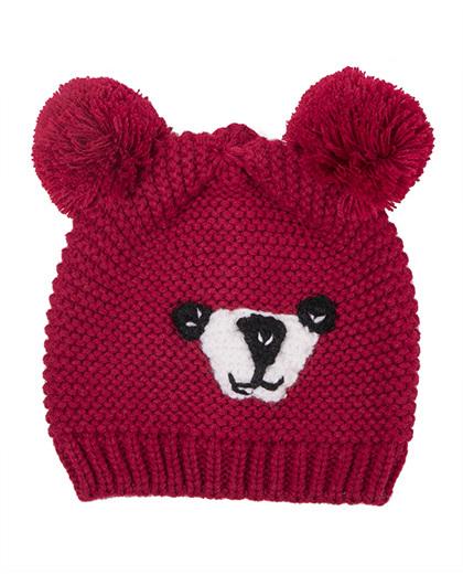 Gorro infantil de tricô vermelho Fox