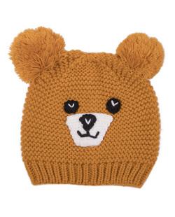 Gorro infantil de tricô mostarda Fox