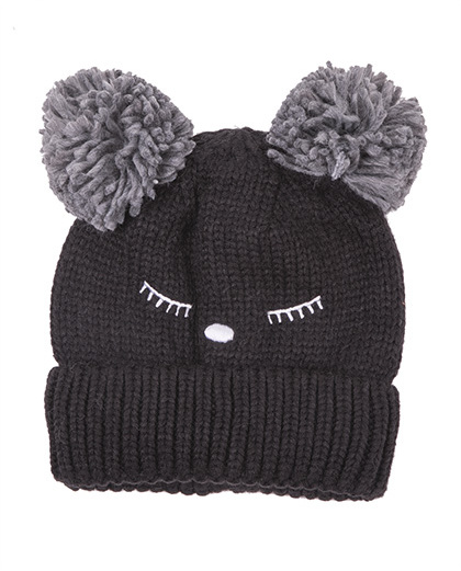 Gorro de tricô preto Sheep