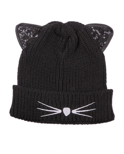 Gorro de tricô preto Cat