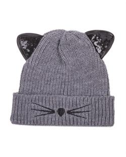 Gorro de tricô cinza Cat