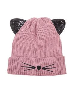 Gorro de tricô rosa Cat
