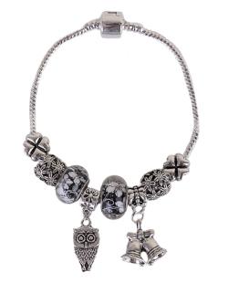 Pulseira de metal prateado com pedra preta owl