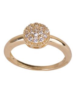 Anel de metal dourado com strass cristal  Jules