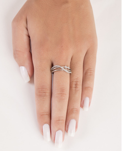 Anel de metal prateado com strass cristal Isa