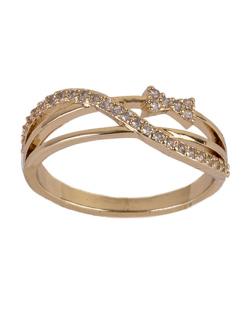 Anel de metal dourado com strass cristal Isa