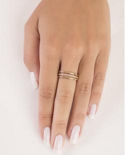 Anel de metal dourado com strass cristal Dafne