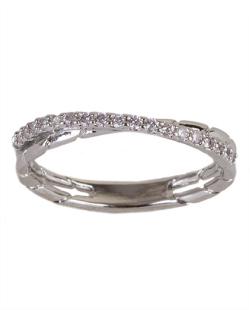 Anel de metal prateado com strass cristal Melinda