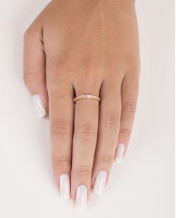 Anel de metal dourado com strass cristal Filipa