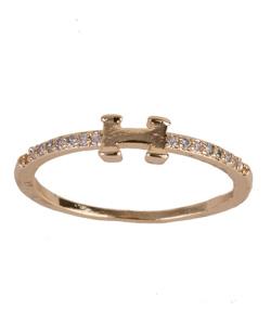 Anel de metal dourado com strass cristal Dora