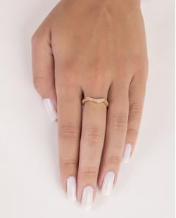 Anel de metal dourado com strass cristal Juliane