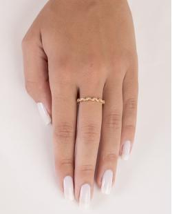 Anel de metal dourado com strass cristal kathleen