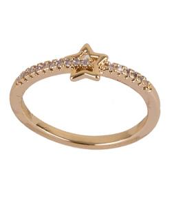 Anel de metal dourado com strass cristal Tália