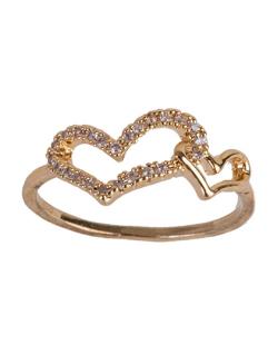 Anel de metal dourado com strass cristal Manoela