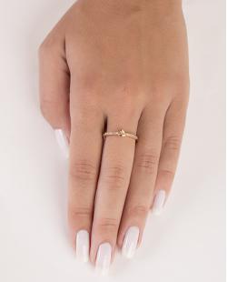 Anel de metal dourado com strass cristal Tiffany
