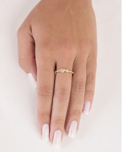 Anel de metal dourado com strass cristal Nayra