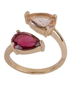 Anel de metal dourado com pedra vermelha e rosé Margot