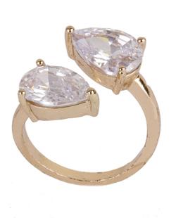 Anel de metal dourado com pedra cristal Margot