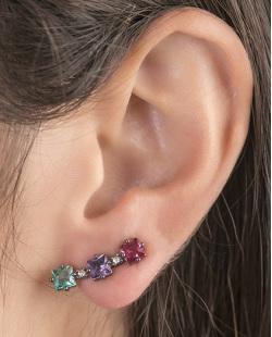 Ear cuff de metal grafite com pedra vermelha, roxa e verde Melany