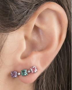 Ear cuff de metal grafite com pedra roxa, verde e rosa Melany