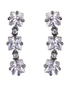 Ear cuff de metal grafite com pedra cristal Melany