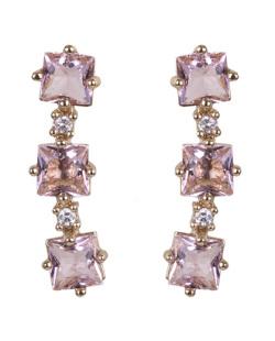 Ear cuff de metal dourado com pedra rosa Melany