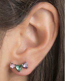 Ear cuff de metal grafite com pedra rosa, verde e roxa Evelyn