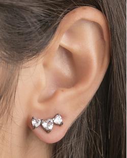 Ear cuff de metal grafite com pedra cristal Evelyn