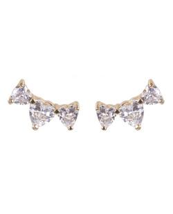 Ear cuff de metal dourado com pedra cristal Evelyn
