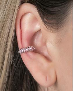 Piercing fake prateado com pedra rosa Paty