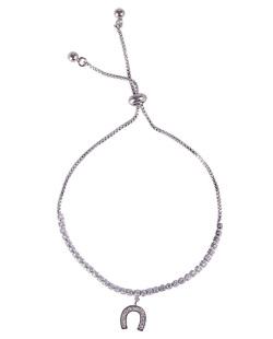Pulseira de metal prateado com pedra cristal horseshoe