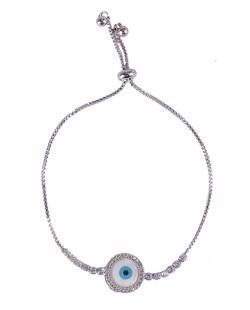 Pulseira de metal prateado com pedra branca e cristal  Turkish
