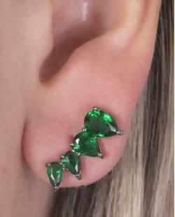 Ear cuff de metal grafite com pedra verde Lawrence