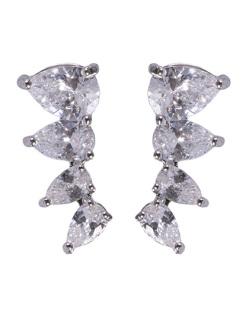 Ear cuff de metal prateado com pedra cristal Lawrence