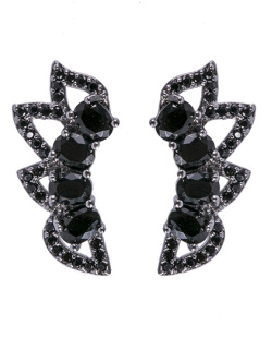Ear cuff de metal grafite com pedra preta Aniston